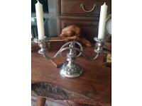 Silver plated candelabra twin sconce.