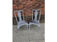 Vintage rustic Boho Boutique x 2 large ball/claw dining chairs. Shabby chic grey. LOCAL DELIVERY.