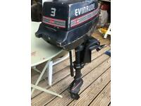 Boat road trailer and 3 hp motor Evinrude.