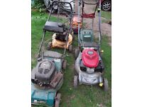 Lawn Mowers. Barn clearance. 3 petrol and 2 electric.