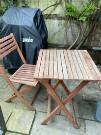 Wooden coffee table and chair - garden/balcony