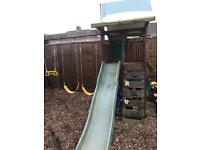 Kids playhouse climbing frame swing set slide
