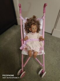 Collapsable Dolls Buggy With a Doll and 2 Soft Toys