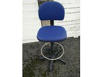 Reception chair, lab chair, high office chair (£15). Blue.