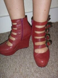 RED LEATHER WEDGES SHOES SIZE 37 OR UK 4 USED TWICE £ 15