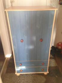 Blue/ Oak wood Children's Wardrobe