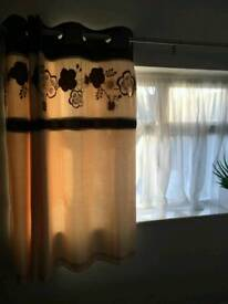 Curtains cream and purple