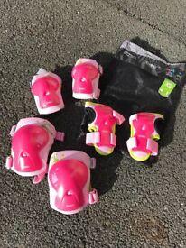 Decathlon Girls knee, elbow & wrist pads protectors skateboard/bike/rollerblades