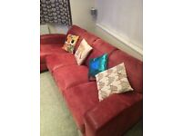 Burgundy Natural Leather Large left hand facing chaise end sofa
