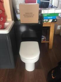 Black vanity unit toilet soft close seat n flush system £140 rrp£550