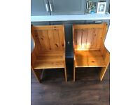 Pair bench seat pew wooden carver style kitchen living room
