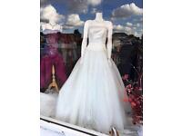 Embellished tulle wedding dress, size 12