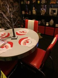 1950,s American Diner Style 4 Red Chairs with table (£150 ono) buyer to collect assembled