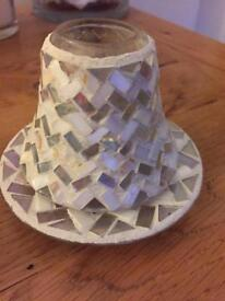 Yankee Candle mosaic glass shade and plate