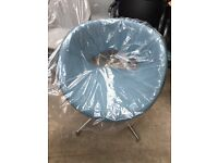 Blue Circular Swivel Tub Chair Brand New Chrome Base