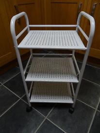 White Metal Mobile Shelf Unit