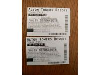 2 Alton towers tickets 5 june2018