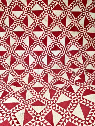 Antique Quilt 19th C Red White Lady of the Lake Graphic Hand Stitched Pieced