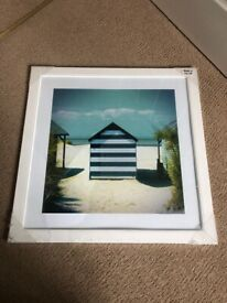Brand new sealed & framed beach hut picture 56x56cm