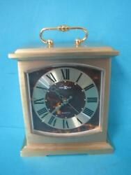 Vintage Howard Miller Brass Mantle Style Alarm Clock Desk Shelf 4RE603