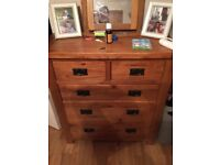 Solid wood Drawers and bedside tables x 2