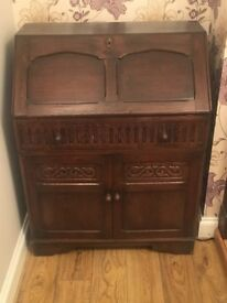 Antique Writing Bureau with fold down leather lined desk.