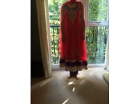 Embrodied beaded Indian Wedding / Party Dress, punjabi trousers and 2 x scarfs