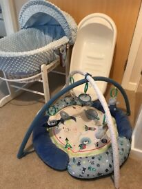 Baby boy Moses baskets, baby bath and play mat