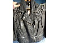 Allsaints womens cargo leather biker jacket