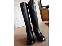 Ladies Long Black Leather Boots size 5