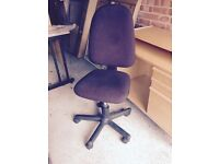 Brown fabric swivel office chair