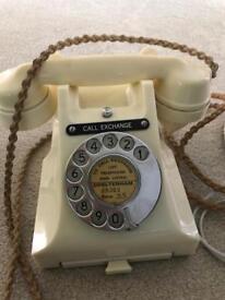 Rare Vintage GPO Bakelite Cream Ivory Telephone Converted