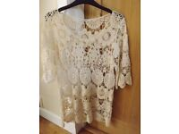 Cream Lace Top Size 10