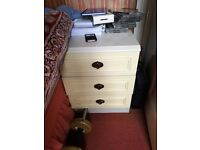 Single low solid bedside table White Cream Metal handles
