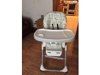 Graco high chair fully adjustable height also reclines and collapses for storage
