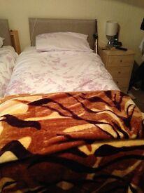 2 single grey divan single bed