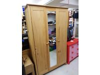 Wardrobe 3 doors with mirror solid wood