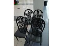 Black dropleaf table plus 4 chairs