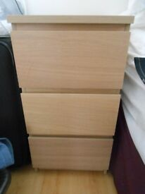 2 x Ikea Malm 3 Drawer beside units - White stained oak veneer