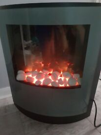 Grey electric wall mounted fire