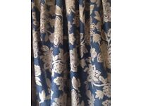 Pair of Dorma Blue Lined Pleat Curtains