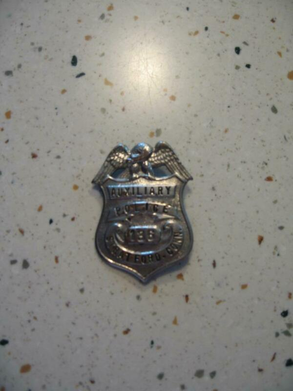 VINTAGE AUXILIARY POLICE BADGE # 136, STRATFORD, CONN (NO PIN)