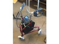Red three wheeled mobility walker, delivery available