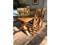 Solid Oak Dining Table & 4 High Back Upholstered Chairs