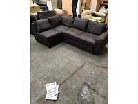 Brown Leather Corner Sofa / Sofabed