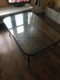 Large glass and black metal decorative two tier Ikea coffee table