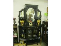 A GORGEOUS RARE VICTORIAN ORNATE EBONY SIDEBOARD. TOP DETACHABLE. MIRRORED BACK. VIEWING/DELIVERY