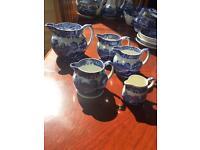 Collection of 5 original Italian Blue Spode jugs.