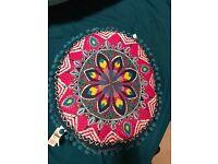 Teal pink multicolour Vintage Aztec Geometric Print Round Cushion Throw pillow