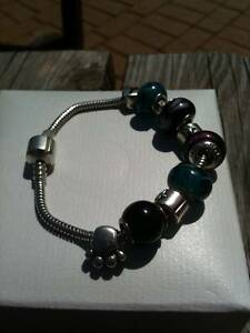 Solid Stirling Silver Pandora Style Bracelet with Charms Mitchell Park Marion Area Preview